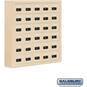 "Cell Phone Storage Locker, Surface Mounted, 6 Door High, 5""D, Combo Locks, 30 A Doors, Sandstone"