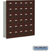 """Cell Phone Storage Locker, Recessed Mounted, 6 Door High, 5""""D, Combo Locks, 30 A Doors, Bronze"""