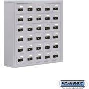 "Cell Phone Storage Locker, Surface Mounted, 6 Door High, 8""D, Combo Locks, 30 A Doors, Aluminum"