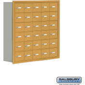 "Cell Phone Storage Locker, Recessed Mounted, 6 Door High, 8""D, Keyed Locks, 30 A Doors, Gold"