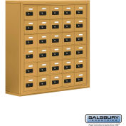 "Cell Phone Storage Locker, Surface Mounted, 6 Door High, 8""D, Combo Locks, 30 A Doors, Gold"