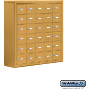 "Cell Phone Storage Locker, Surface Mounted, 6 Door High, 8""D, Keyed Locks, 30 A Doors, Gold"
