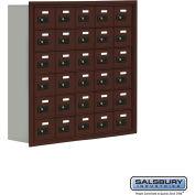"""Cell Phone Storage Locker, Recessed Mounted, 6 Door High, 8""""D, Combo Locks, 30 A Doors, Bronze"""