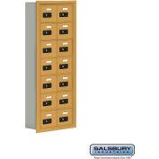 "Cell Phone Storage Locker, Recessed Mounted, 7 Door High, 5""D, Combo Locks, 14 A Doors, Gold"