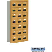 "Cell Phone Storage Locker, Recessed Mounted, 7 Door High, 5""D, Combo Locks, 21 A Doors, Gold"