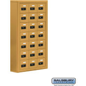 "Cell Phone Storage Locker, Surface Mounted, 7 Door High, 5""D, Combo Locks, 21 A Doors, Gold"