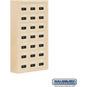 "Cell Phone Storage Locker, Surface Mounted, 7 Door High, 5""D, Combo Locks, 21 A Doors, Sandstone"