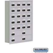 "Cell Phone Storage Locker, Recessed Mounted, 7 Door High, 5""D, Combo Locks, 20A & 4B Doors,Aluminum"