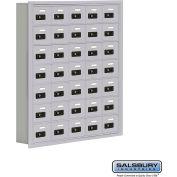 "Cell Phone Storage Locker, Recessed Mounted, 7 Door High, 5""D, Combo Locks, 35 A Doors, Aluminum"