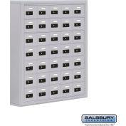 "Cell Phone Storage Locker, Surface Mounted, 7 Door High, 5""D, Combo Locks, 35 A Doors, Aluminum"