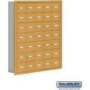 "Cell Phone Storage Locker, Recessed Mounted, 7 Door High, 5""D, Keyed Locks, 35 A Doors, Gold"