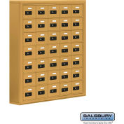 "Cell Phone Storage Locker, Surface Mounted, 7 Door High, 5""D, Combo Locks, 35 A Doors, Gold"