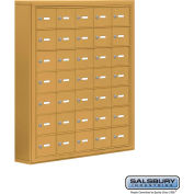 "Cell Phone Storage Locker, Surface Mounted, 7 Door High, 5""D, Keyed Locks, 35 A Doors, Gold"