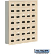 "Cell Phone Storage Locker, Recessed Mounted, 7 Door High, 5""D, Combo Locks, 35 A Doors, Sandstone"