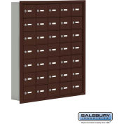 "Cell Phone Storage Locker, Recessed Mounted, 7 Door High, 5""D, Keyed Locks, 35 A Doors, Bronze"