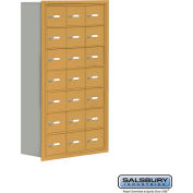"Cell Phone Storage Locker, Recessed Mounted, 7 Door High, 8""D, Keyed Locks, 21 A Doors, Gold"