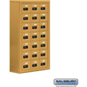 "Cell Phone Storage Locker, Surface Mounted, 7 Door High, 8""D, Combo Locks, 21 A Doors, Gold"