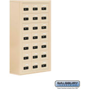 "Cell Phone Storage Locker, Surface Mounted, 7 Door High, 8""D, Combo Locks, 21 A Doors, Sandstone"