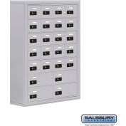 "Cell Phone Storage Locker, Surface Mounted, 7 Door High, 8""D, Combo Locks, 20A & 4B Doors,Aluminum"