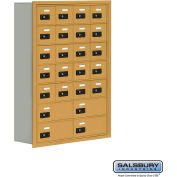 "Cell Phone Storage Locker, Recessed Mounted, 7 Door High, 8""D, Combo Locks, 20A & 4B Doors,Gold"