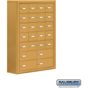 "Cell Phone Storage Locker, Surface Mounted, 7 Door High, 8""D, Keyed Locks, 20A & 4B Doors,Gold"