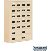 "Cell Phone Storage Locker, Surface Mounted, 7 Door High, 8""D, Combo Locks, 20A & 4B Doors,Sandstone"