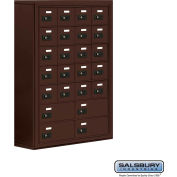 "Cell Phone Storage Locker, Surface Mounted, 7 Door High, 8""D, Combo Locks, 20A & 4B Doors,Bronze"