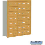 "Cell Phone Storage Locker, Recessed Mounted, 7 Door High, 8""D, Keyed Locks, 35 A Doors, Gold"