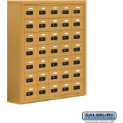 "Cell Phone Storage Locker, Surface Mounted, 7 Door High, 8""D, Combo Locks, 35 A Doors, Gold"