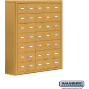 "Cell Phone Storage Locker, Surface Mounted, 7 Door High, 8""D, Keyed Locks, 35 A Doors, Gold"