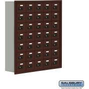 """Cell Phone Storage Locker, Recessed Mounted, 7 Door High, 8""""D, Combo Locks, 35 A Doors, Bronze"""