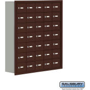 "Cell Phone Storage Locker, Recessed Mounted, 7 Door High, 8""D, Keyed Locks, 35 A Doors, Bronze"
