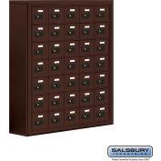 "Cell Phone Storage Locker, Surface Mounted, 7 Door High, 8""D, Combo Locks, 35 A Doors, Bronze"