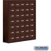 "Cell Phone Storage Locker, Surface Mounted, 7 Door High, 8""D, Keyed Locks, 35 A Doors, Bronze"