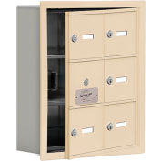 Cell Phone Locker with Access Panel 19135-06SRK - Recessed Mounted Keyed Locks, 6 A Doors, Sandstone