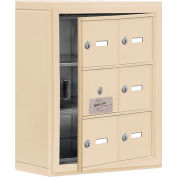 Cell Phone Locker with Access Panel 19135-06SSK - Surface Mounted, Keyed Locks, 6 A Doors, Sandstone