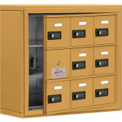 Cell Phone Locker with Access Panel 19135-09GSC - Surface Mounted, Combo Locks, 9 A Doors, Gold