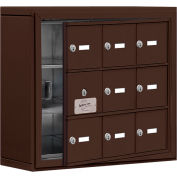 Cell Phone Locker with Access Panel 19135-09ZSK - Surface Mounted, Keyed Locks, 9 A Doors, Bronze