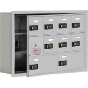 Cell Phone Locker with Access Panel 19135-10ARC - Recessed Mounted Combo Locks 8A&2B Doors Aluminum