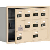 Cell Phone Locker with Access Panel 19135-10SRC - Recessed Mounted Combo Locks 8A&2B Doors Sandstone