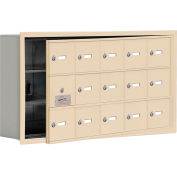 Cell Phone Locker with Access Panel 19135-15SRK - Recessed Mounted Keyed Locks 15 A Doors, Sandstone