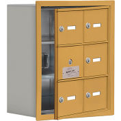 Cell Phone Locker with Access Panel 19138-06GRK - Recessed Mounted, Keyed Locks, 6 A Doors, Gold