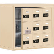 Cell Phone Locker with Access Panel 19138-09SSC - Surface Mounted, Combo Locks, 9 A Doors, Sandstone