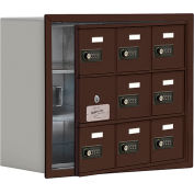 Cell Phone Locker with Access Panel 19138-09ZRC - Recessed Mounted, Combo Locks, 9 A Doors, Bronze