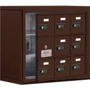 Cell Phone Locker with Access Panel 19138-09ZSC - Surface Mounted, Combo Locks, 9 A Doors, Bronze