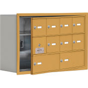 Cell Phone Locker with Access Panel 19138-10GRK - Recessed Mounted, Keyed Locks, 8A & 2B Doors, Gold