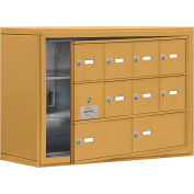 Cell Phone Locker with Access Panel 19138-10GSK - Surface Mounted, Keyed Locks, 8A & 2B Doors, Gold