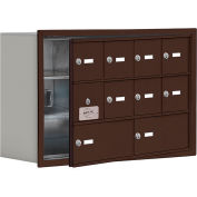 Cell Phone Locker with Access Panel 19138-10ZRK - Recessed Mounted Keyed Locks 8A & 2B Doors, Bronze