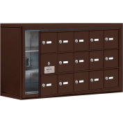 Cell Phone Locker with Access Panel 19138-15ZSK - Surface Mounted, Keyed Locks, 15 A Doors, Bronze