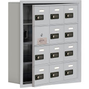 Cell Phone Locker with Access Panel 19145-12ARC - Recessed Mounted, Combo Locks 12 A Doors, Aluminum